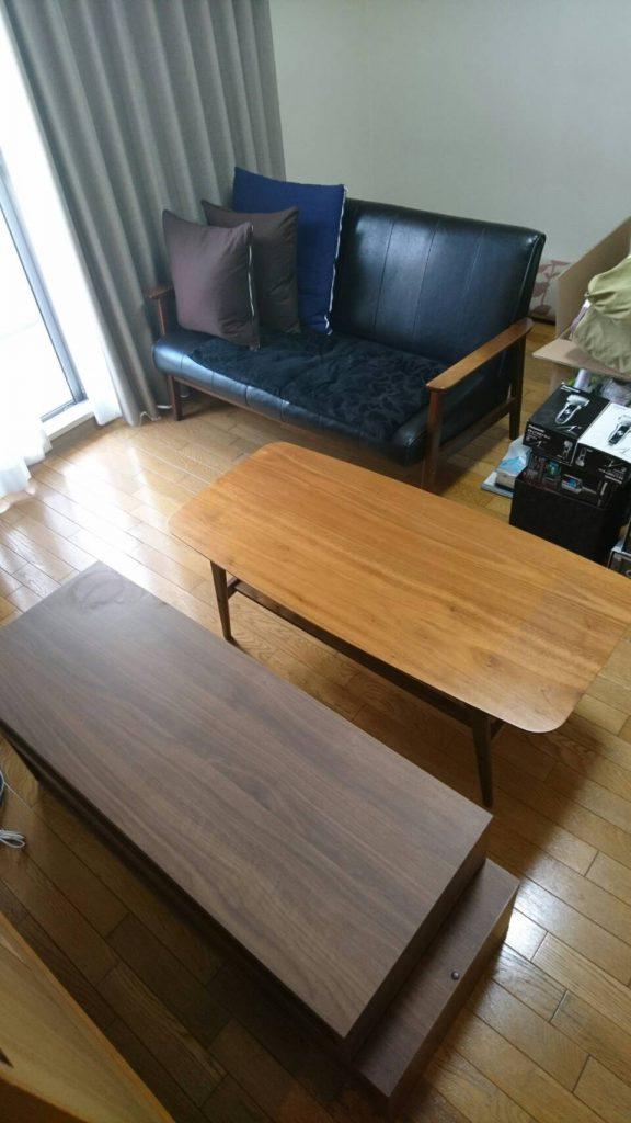 不用品回収_岡山市北区昭和町_居間のテーブルとテレビ